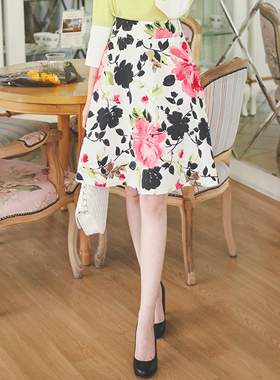 Berry Flower Flare Skirt