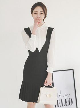 Classic suspenders Pleats Dress