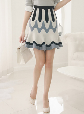 Wave Ruffle Knit Skirt