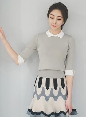 feminine Kara color combination Knit