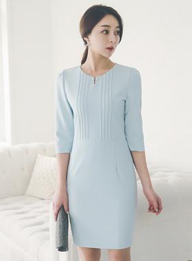 cubic bridge pin tuck Line Dress