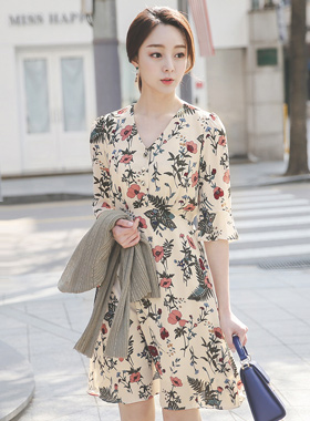 Peach Flower Flare Dress