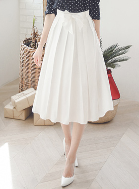 Shine Pleats Flare Skirt