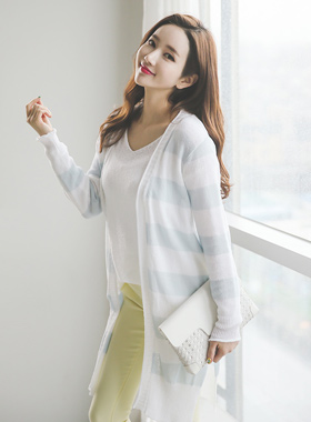 Holic Stripe color combination Long cardigan