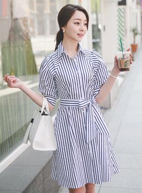 Vivian Stripe Shirt Dress