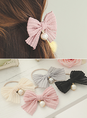 Popcorn line pearl & bowknot hair strap