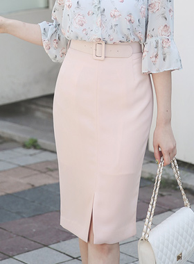 Wide Belt Midi Skirt slits