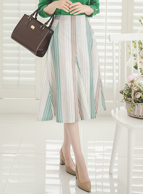 nature Stripe Cotton Rong skirt