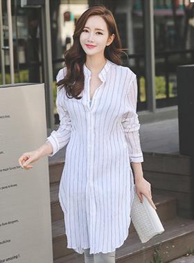multi Stripe Wrinkle Long Shirt