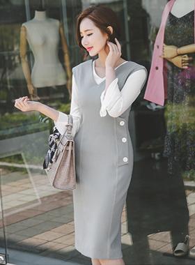 Modern stitch button flap Dress