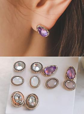 royal antique earring (5set)