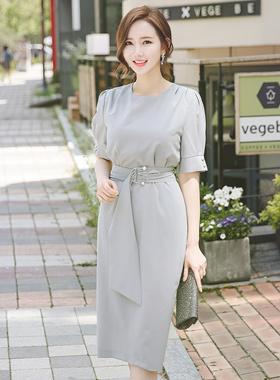 Elegance Pearl Ring Belted Dress