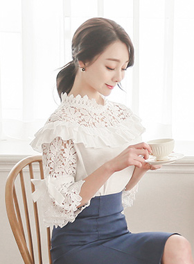 Romantic embroidered embroidery Freel Blouse