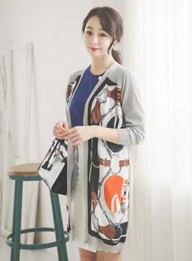 Luxury silky printing Long cardigan