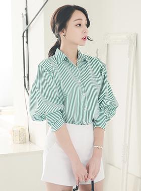 Balloon sleeves Vivid Stripe Shirt