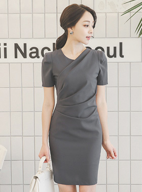 Solid Ruched Drape Dress (short-sleeved)