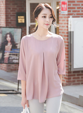 roll-up sleeve Aline blouse top