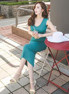 Cooling V-neck Slim Long knit Dress