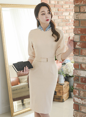 simple stick Gold Belt Dress