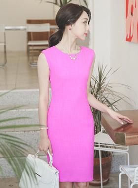 Fuchsia Linen Tweed Slim Dress
