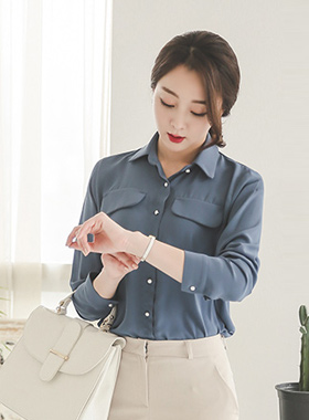 Black pocket pearl button Blouse (sleeve 7)