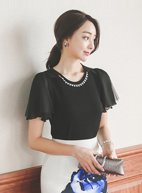 Mesh Wing Necklace Blouse Top