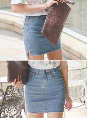 Unbalance Cutting Denim Mini Skirt