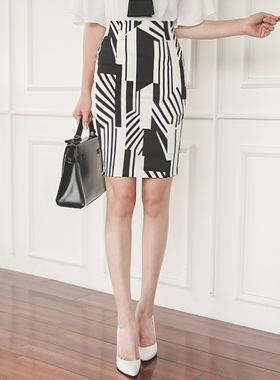 Geometric Cotton span Skirt