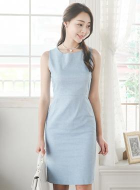 Basic Linen Texture Sleeveless Dress