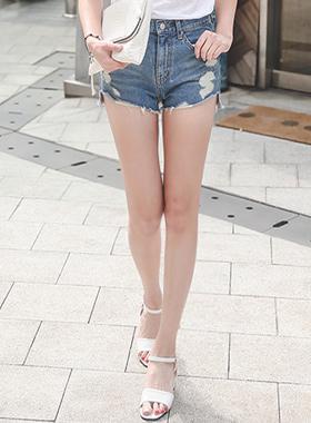 Trendy Cutting Damage Denim Hot Pants