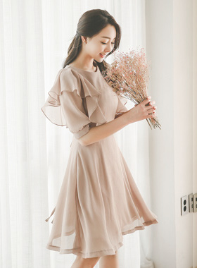 Yoru Chiffon Ruffle Shoulder Dress