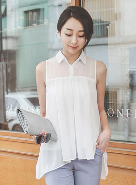 Sleeveless long blouse with shirt collar
