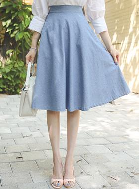 Basic denim cotton Flare Skirt