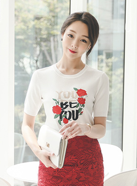 Yu-bi lettering rose Knit