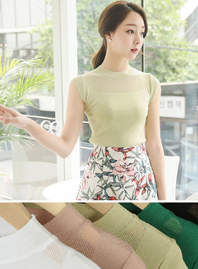 Up-round See-through look Cap Sleeve Knit