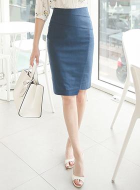 Lap Incision Linen Blend Skirt