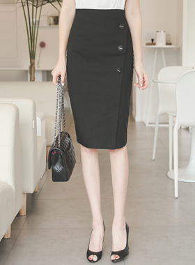 Silver tip button Linen Span Skirt