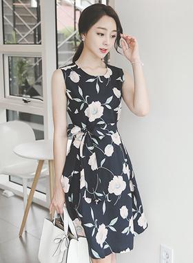 Pure Flower Linen Flare Dress