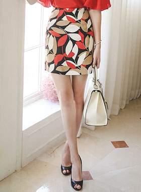 Vivid leaf Linen Skirt