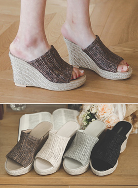 Linen Mash Wedge Mule Slippers