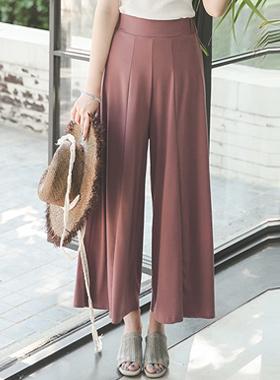 Silky Jersey Dart Flare Wide Pants