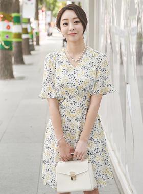 Violet flower V-neck Flare Dress