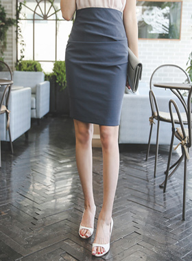 Simple fold Slim Skirt
