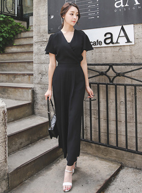 Dress Wing Sleeve Wrap Jump Suit