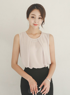 Luxury Cubic Decoration Tuck Blouse