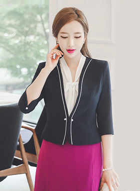 Classic Piping Pearl Button Jacket