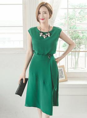 Angle Cutting and Adoring Belt Dress