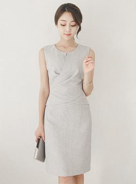 Classy Linen Texture Drape Dress