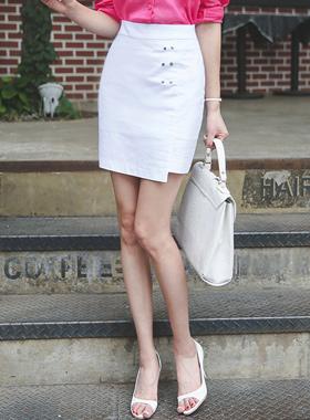 Stud Unlined Linen Cotton Skirt