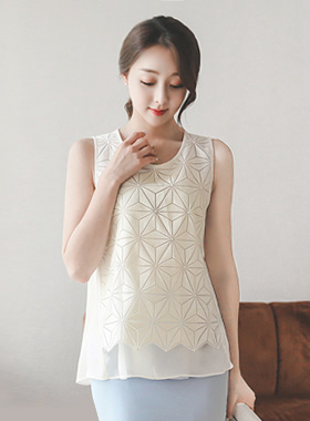 Glyf Embroidery Chiffon Double Blouse